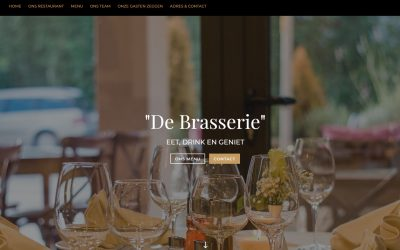 One-page lay-out voor een restaurant